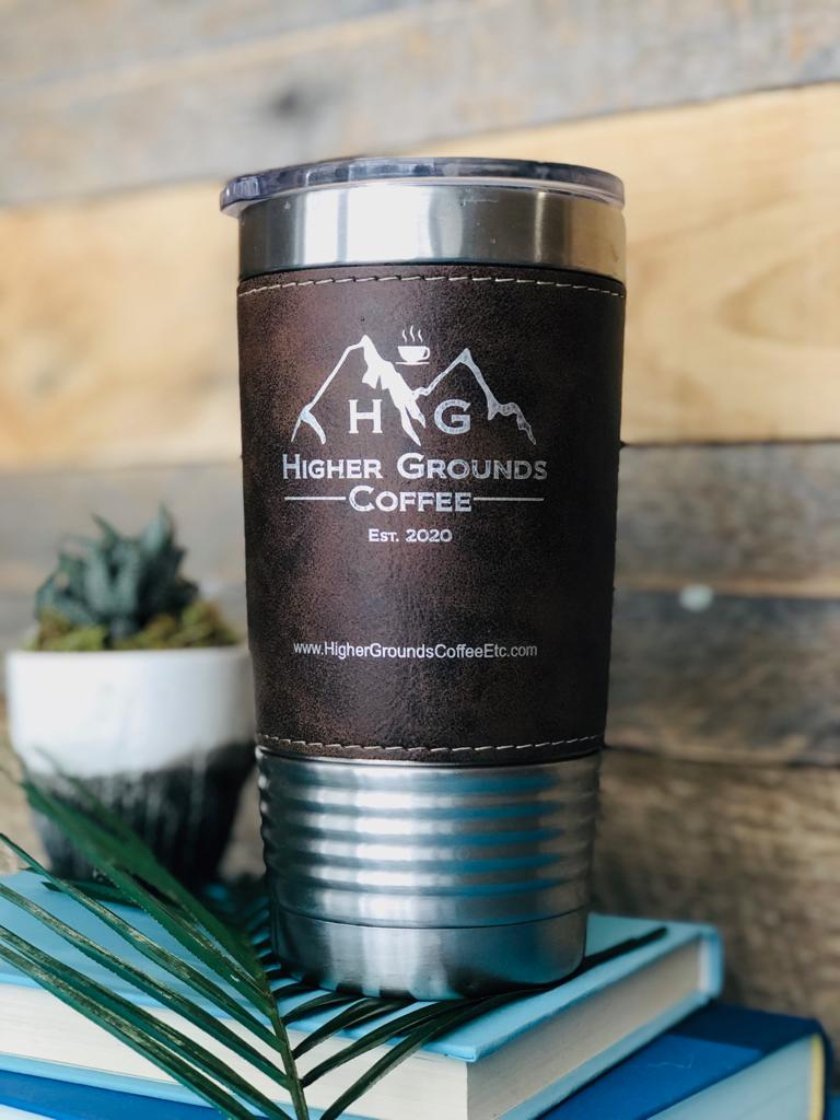 HOT SELLER!   Engraved Rich Leather Grip Travel Mug - Compare to YETI