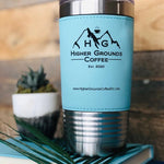20% - HOT SELLER!   Engraved Rich Leather Grip Travel Mug - Compare To YETI