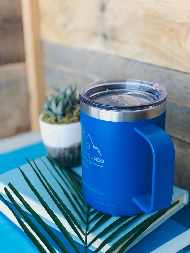 Engraved Travel Mug with Handle - Blue - Compare to YETI