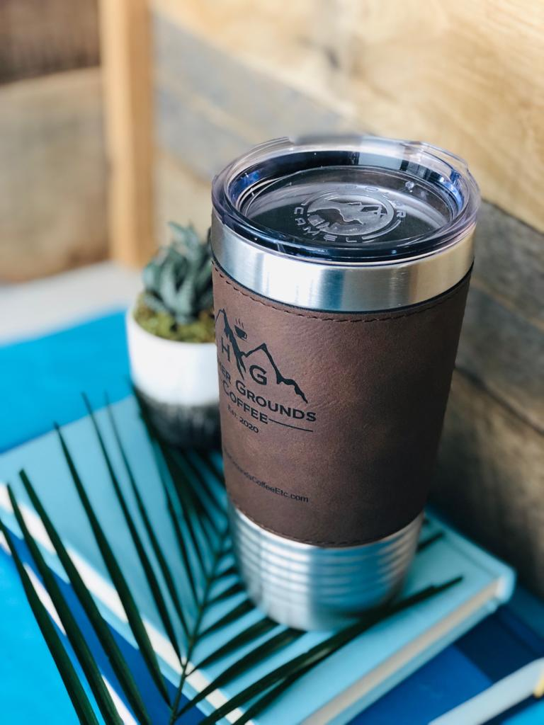 20% OFF - HOT SELLER!   Engraved Rich Leather Grip Travel Mug - Compare to YETI