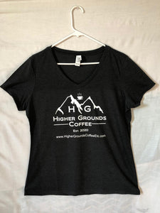 Printed Logo Women's Tee Shirt - Black - Higher Grounds Coffee