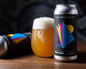 Can and pour of Mast Landing neon sails ipa