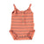 Baby romper | coral & grey stripes cotton fleece