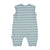 Sleeveless jumpsuit | light blue & grey stripes cotton fleece