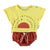 "Baby terry cotton t-shirt | yellow w/ ""festival"" garnet & black print"