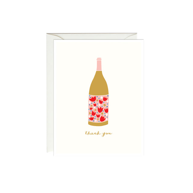 Wine Thank You Card (Gold Foil)
