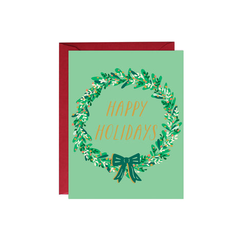 Happy Holidays Wreath Card (Gold Foil)