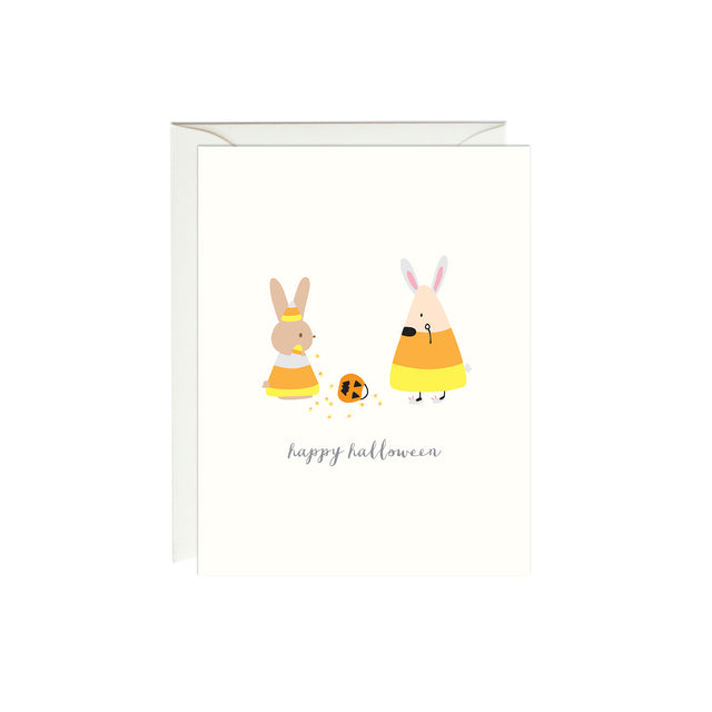 Bunny and Candy Corn Halloween Card