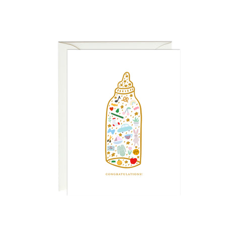 Baby Bottle Card (Gold Foil)