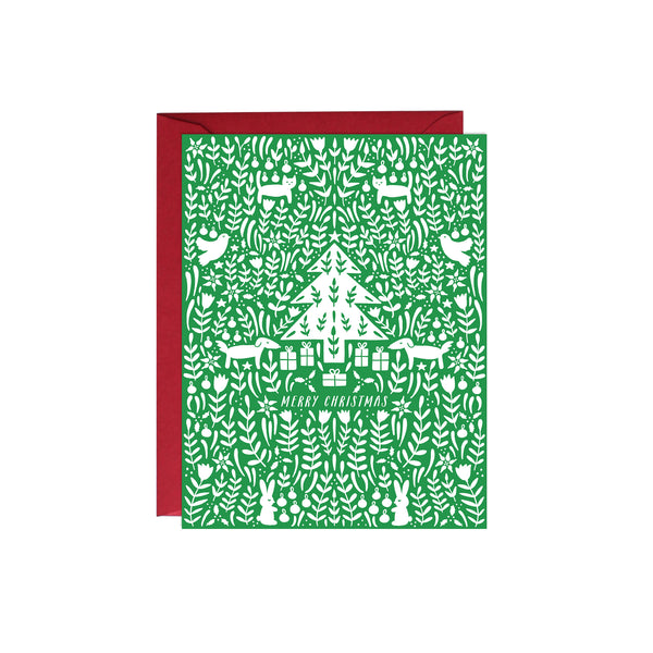 Green Christmas Scene Card