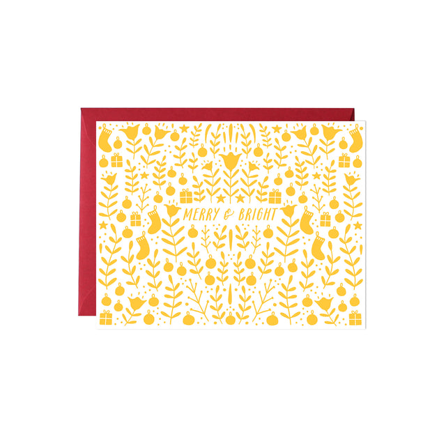 Yellow Christmas Ornaments Card