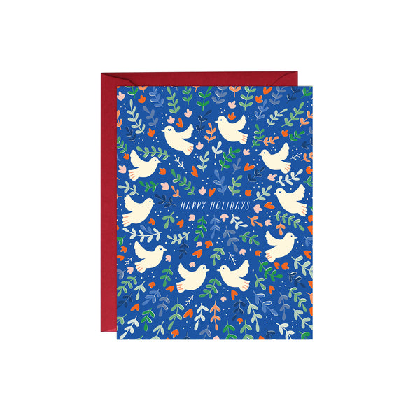 Blue Holiday Doves Card