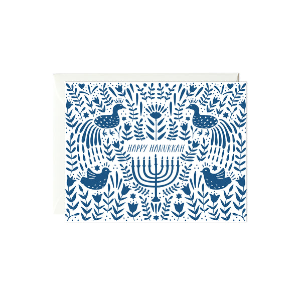 Blue Hanukkah Scene Card