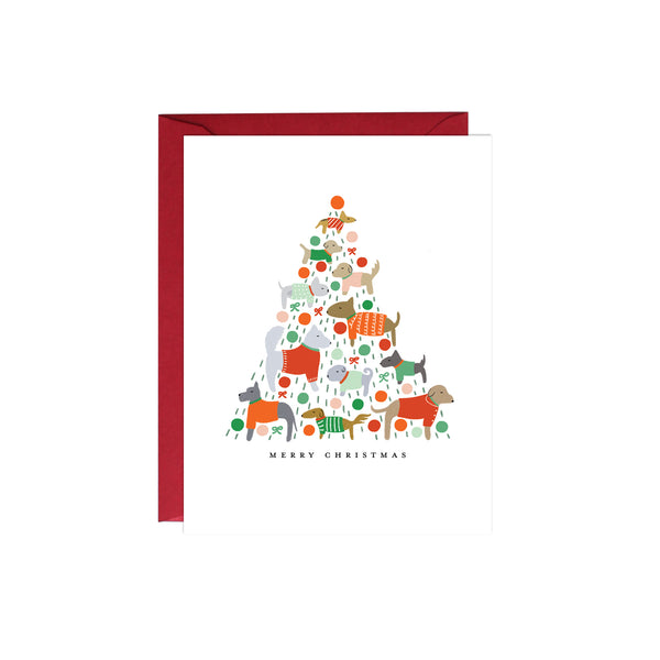 Dogs Christmas Tree Card