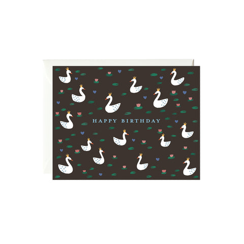 Birthday Swans Birthday Card