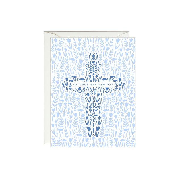 Floral Baptism Cross Card