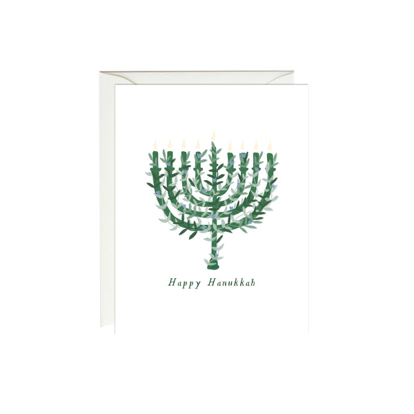 Botanical Menorah Hanukkah Card
