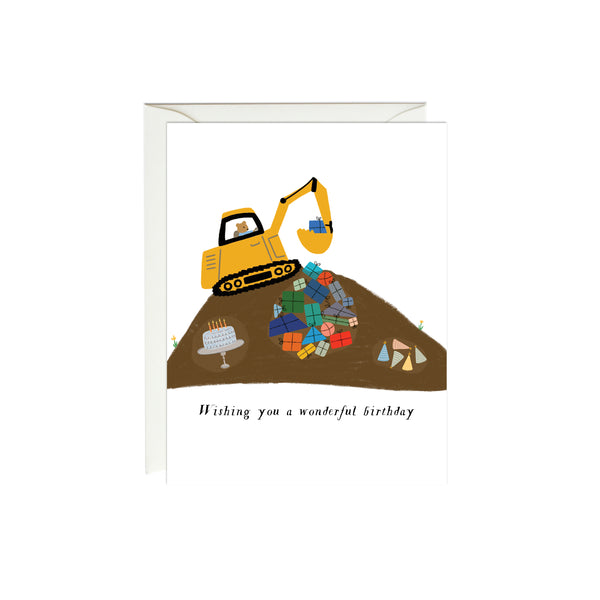 Digger Construction Birthday Card