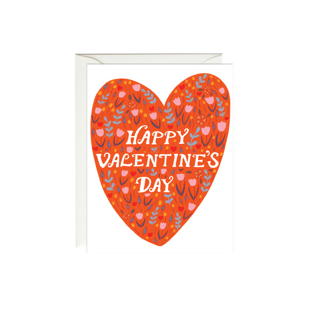 Red Floral Heart Valentine's Day Card