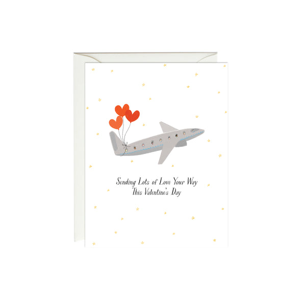 Sending Love Plane Valentine's Day Card