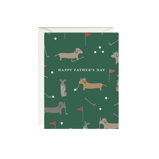 Dachshunds Golfing Father's Day Card