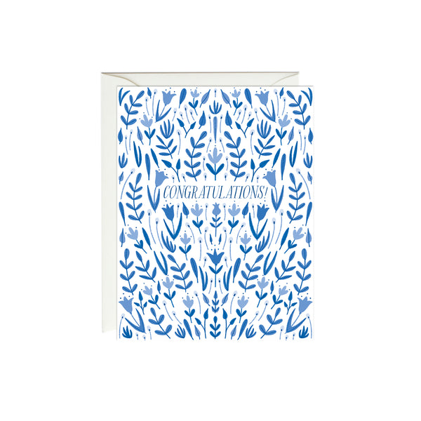 Blue Floral Congratulations Card