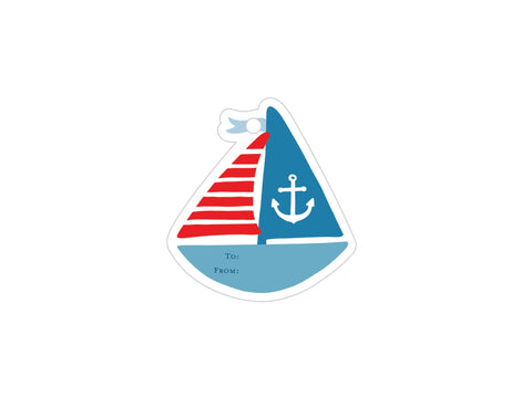 Sailboat - Set of 5 Die Cut Tags
