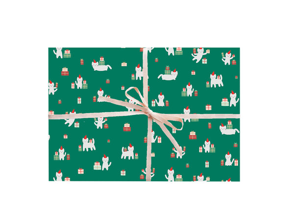 Meowy Christmas Cat Wrapping Sheets