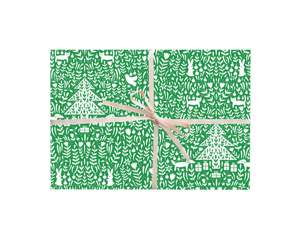 Green Christmas Scene Wrapping Sheets