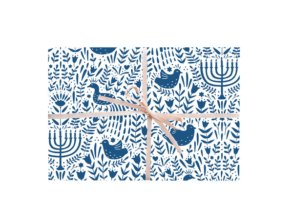 Blue Hanukkah Scene Wrapping Sheets
