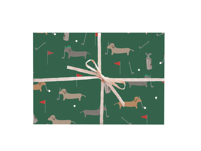 Dachshunds Golfing Wrapping Sheets
