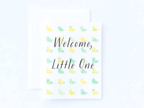 Welcome Little One Baby Socks Card