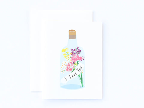 I Love You Message in a Bottle Card