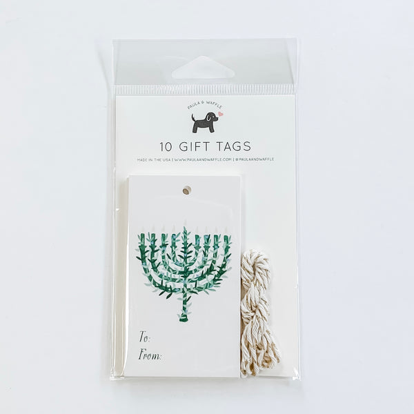 Botanical Menorah Hanukkah Gift Tags