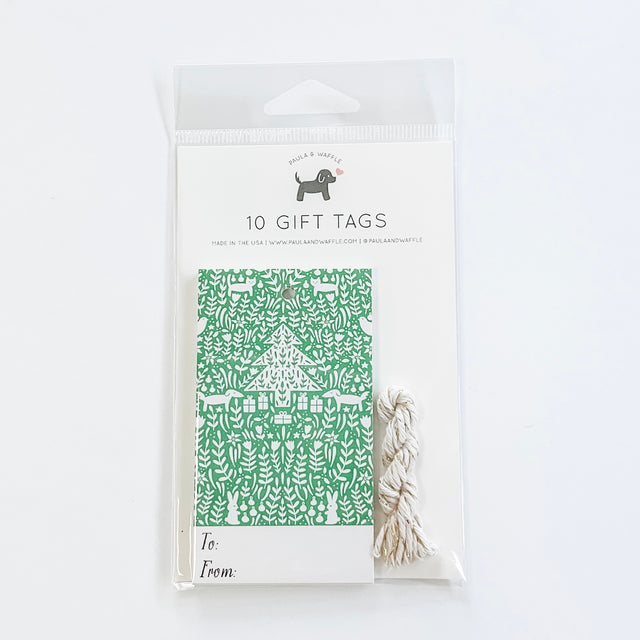 Green Christmas Scene Gift Tags