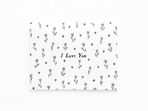 Blue Tulips I Love You Card