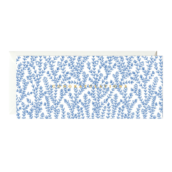 Blue Florals Congratulations Card (Gold Foil)