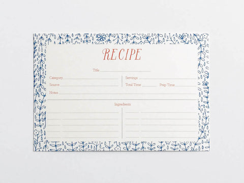 Blue Florals Recipe Cards