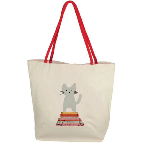 Cat Books Tote Bag