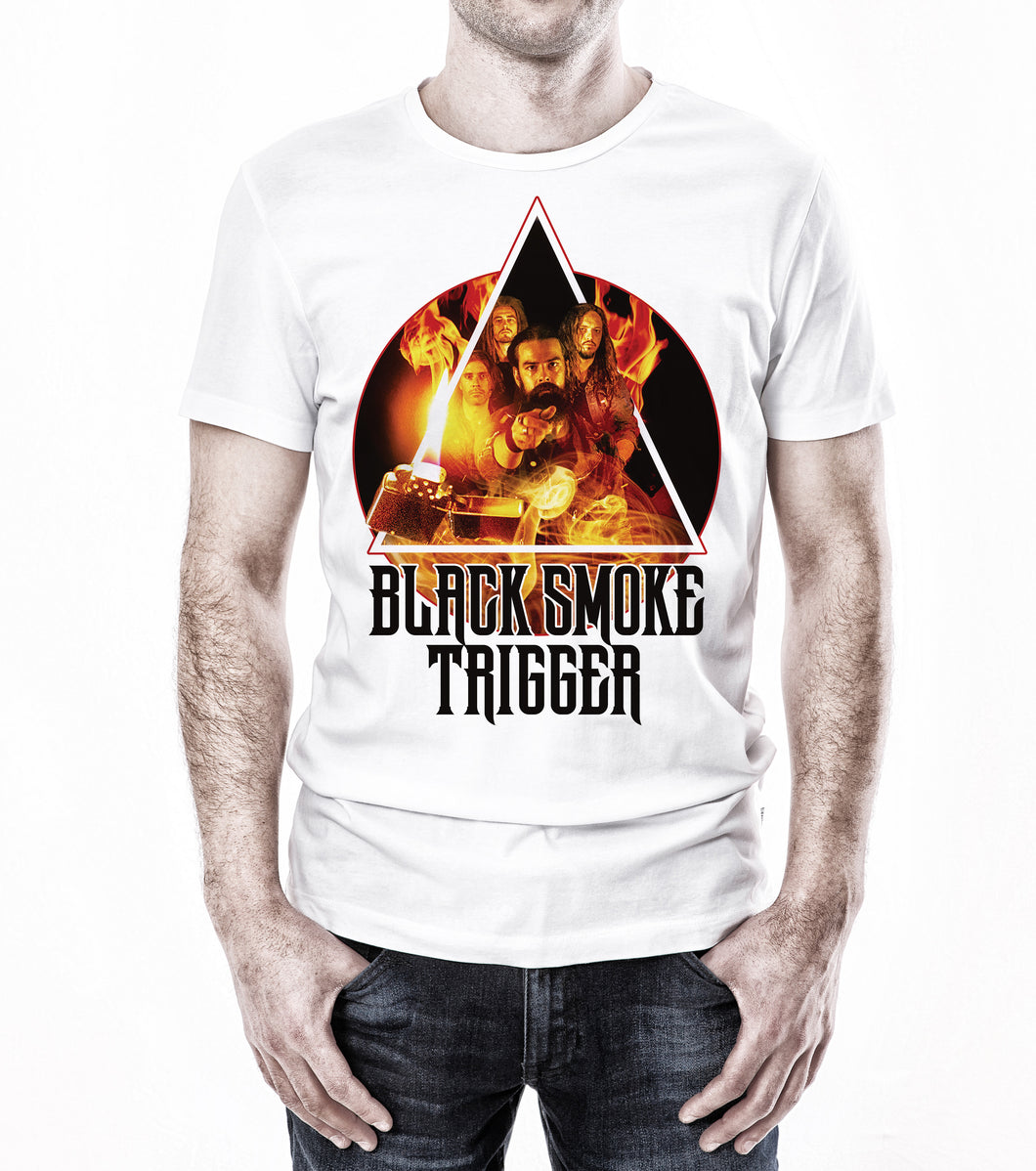 Black Smoke Trigger Photo Art Shirt - White
