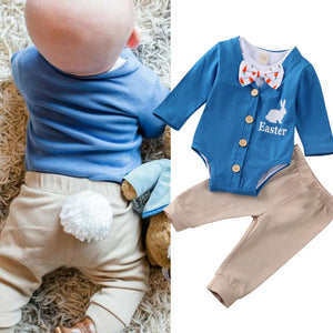 0-18M Boys Bunny Tie Long Sleeve Bodysuit 3Pcs Sets Outfits
