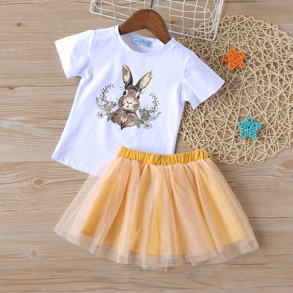 Cartoon Rabbit Girls Outfit Set