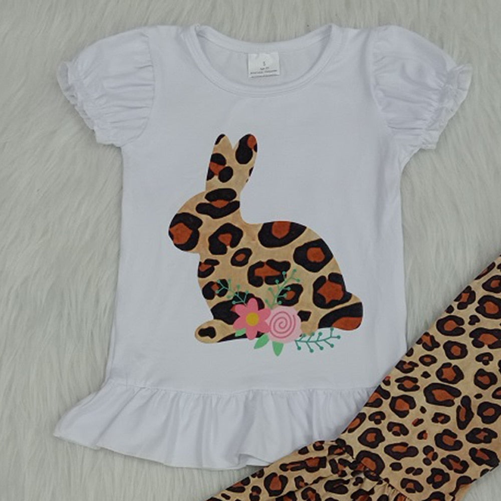 2 PCS Set Girls Cup Sleeve Bunny Leopard Outfit