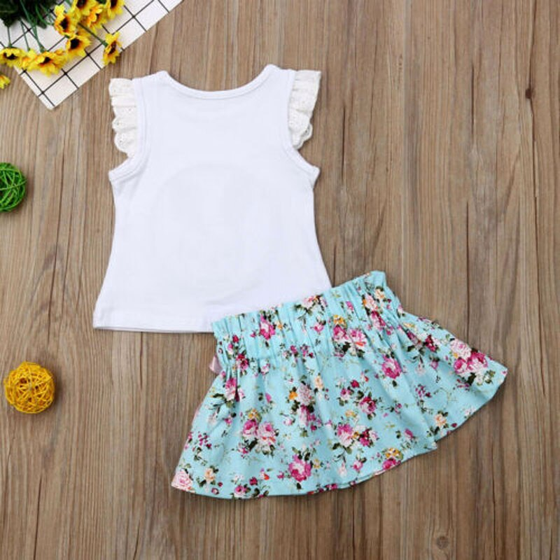 Rabbit Floral Ruffle Tutu Outfit  Set 2PCS