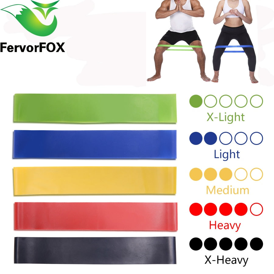 Resistance training bands in 5 different colours