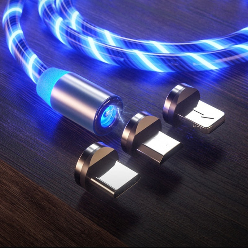 Double 360 Magnetic Cable - Glowing Magnetic 3 in 1 USB Charging Cable