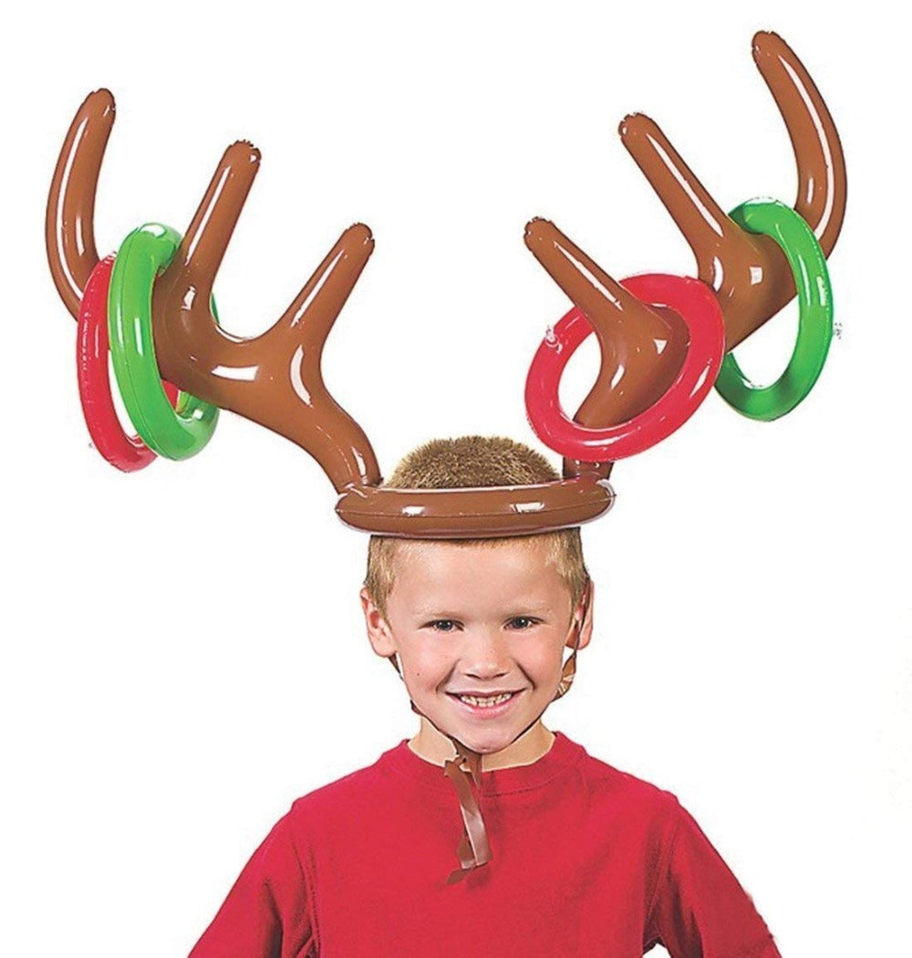CHRISTMAS PARTY TOSS GAME INFLATABLE REINDEER ANTLER HAT WITH RINGS