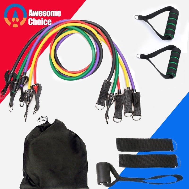 Resistance Band Set ( 11 Piece Set ) - FREE SHIPPING