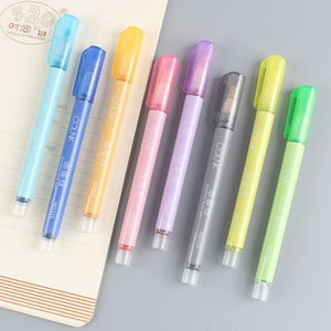 8pcs/1set Double Line Fluorescent Pen
