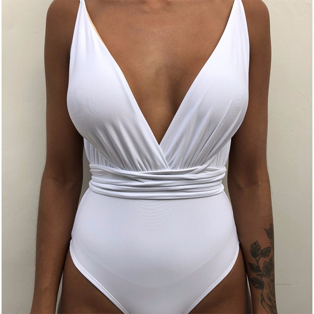 Solid Lace Up One-piece Swimsuit